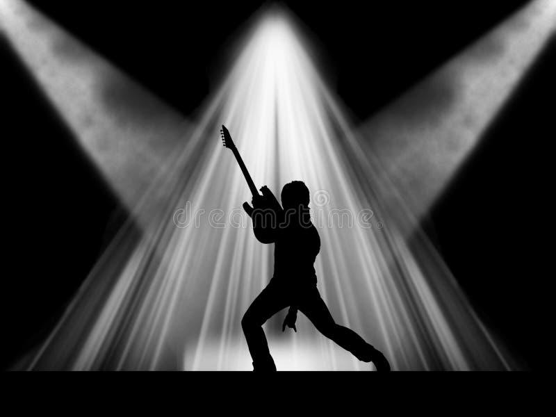 Vagga stjärnagitarristen på etappen stock illustrationer