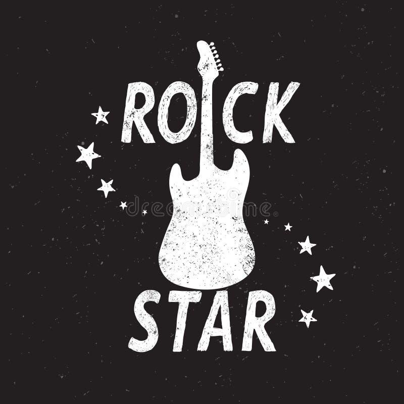 Vagga stjärnagrungeemblemet med gitarren royaltyfri illustrationer