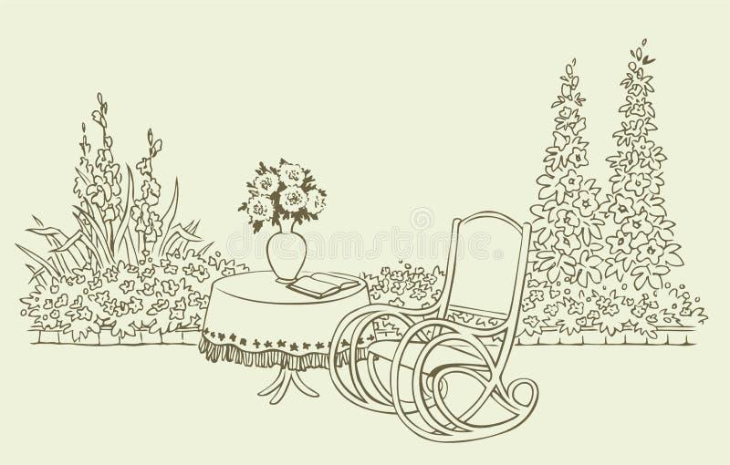 vaggande för hemtrevlig blomning för stol trädgårds- stock illustrationer