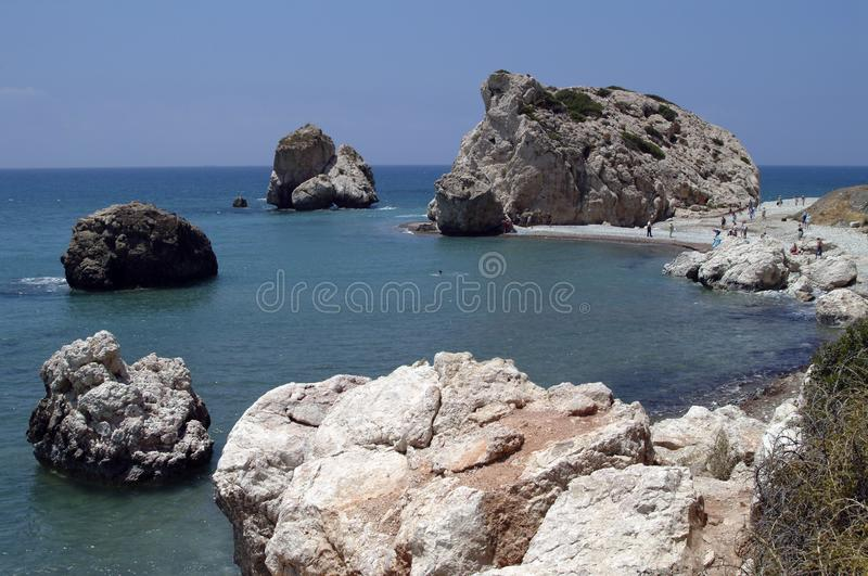 Vaggar av Aphrodite, på den medelhavs- ön av Cypern royaltyfria foton