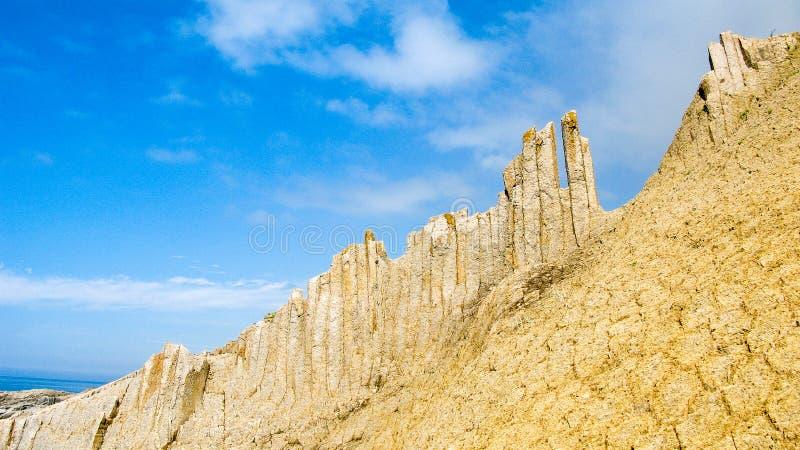 Vaggar av Stolbchatiy udde i Kunashir, kuril öar Ryssland arkivbilder