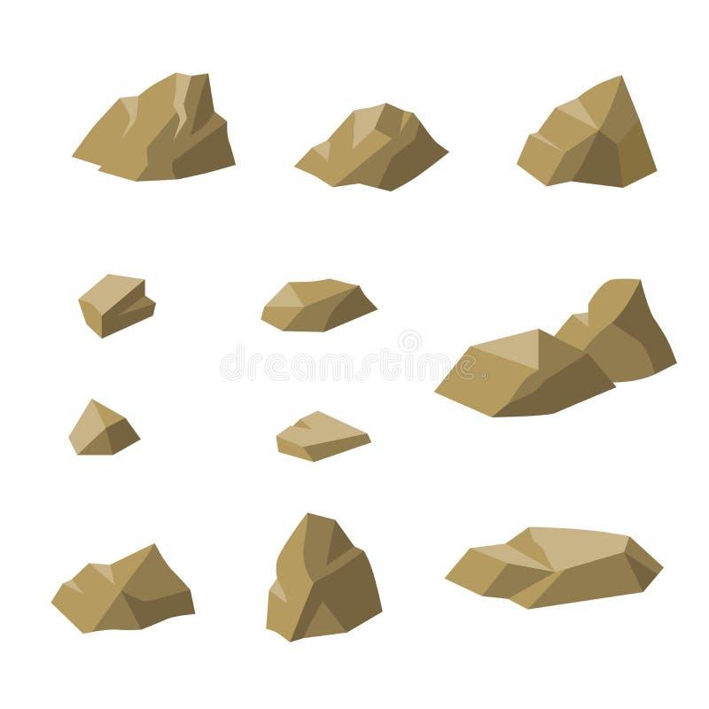 Vaggar beige litet för stenar den fastställda illustrationen royaltyfri illustrationer