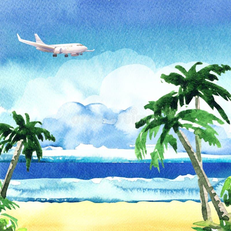 Vaggar den tropiska ön för det härliga paradiset med havet, den sandiga stranden, palmträd, flygflygplanet på himmel, sommartid stock illustrationer