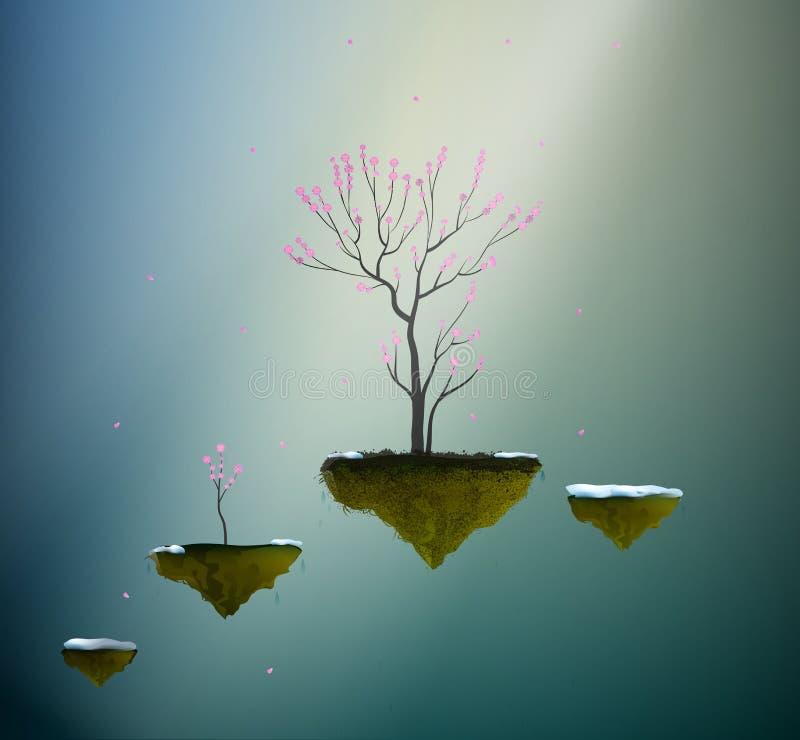 Vaggar det rosa trädet för blomningen på flyg, det körsbärsröda trädet för våren i drömmarnas land, royaltyfri illustrationer