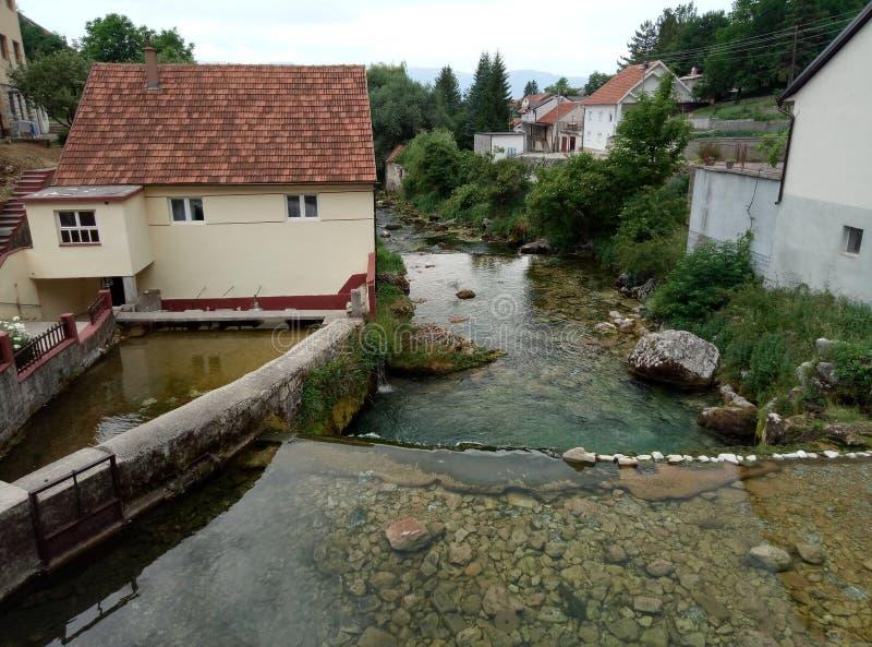 Vaggar, hus och Duman, våren av den Bistrica floden i lilla staden av Livno i Bosnien och Hercegovina royaltyfria foton