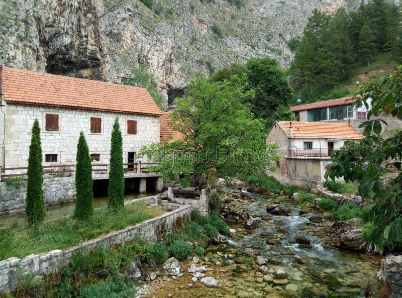 Vaggar, hus och Duman, våren av den Bistrica floden i lilla staden av Livno i Bosnien och Hercegovina arkivfoto