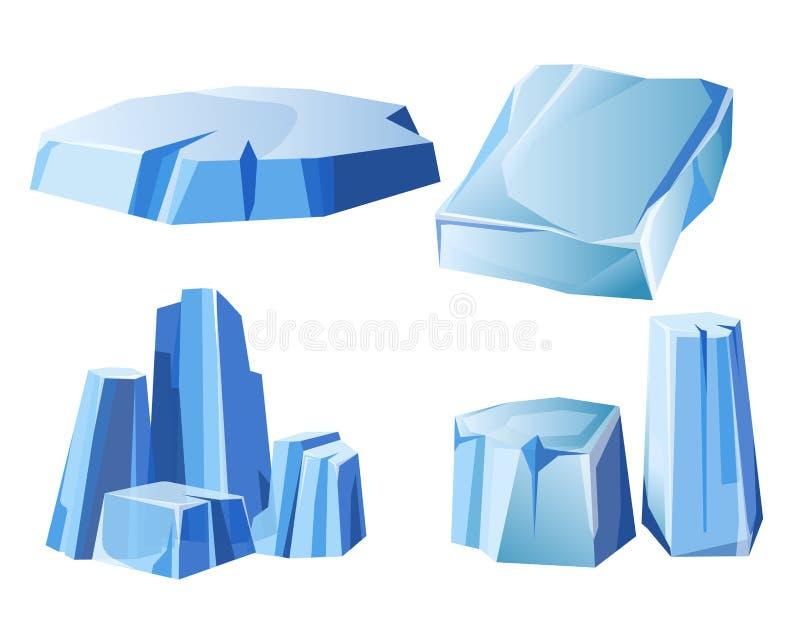 Is vaggar, isberget, eller iskalla fryste symboler för snöbergvektor ställer in royaltyfri illustrationer