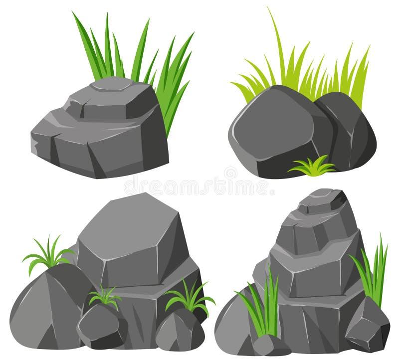 Vaggar och gräs på vit bakgrund royaltyfri illustrationer