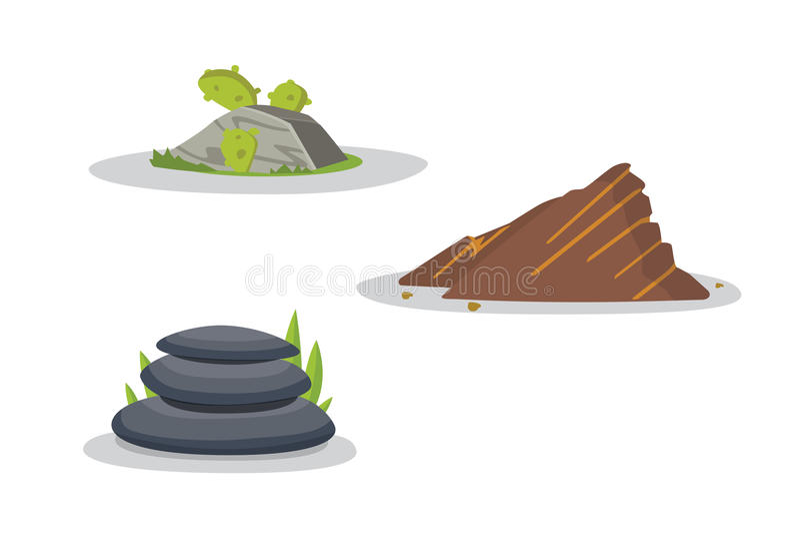 Vaggar och stenar beståndsdelsamlingsuppsättningen Vektorillustration av fasta material Tecknad filmstenar i olika färger stock illustrationer