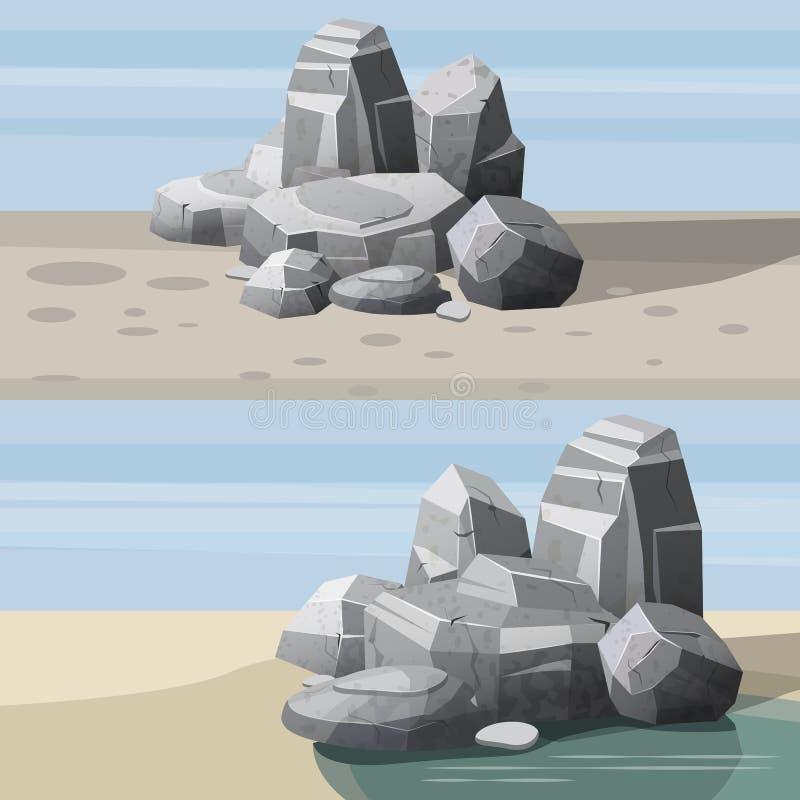 Vaggar och stenar enkelt eller travt för skada och spillror för den modiga konstarkitekturdesignen, tecknad filmstil som isoleras stock illustrationer