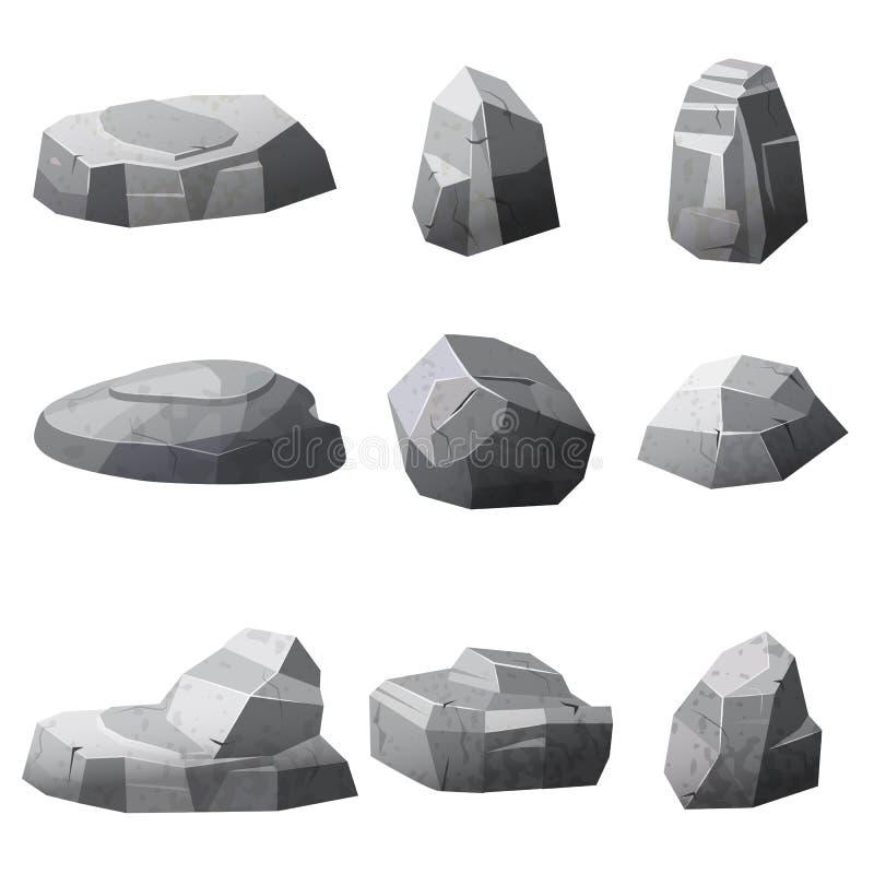 Vaggar och stenar enkelt eller travt för skada och spillror för den modiga konstarkitekturdesignen, tecknad filmstil som isoleras vektor illustrationer