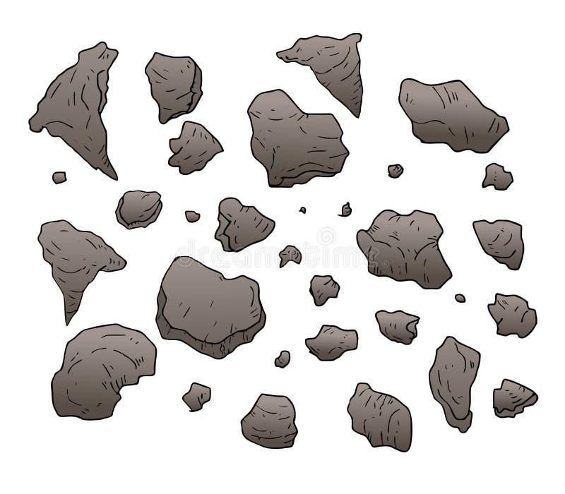 Vaggar, och stenar ställde in samlingen vektor illustrationer
