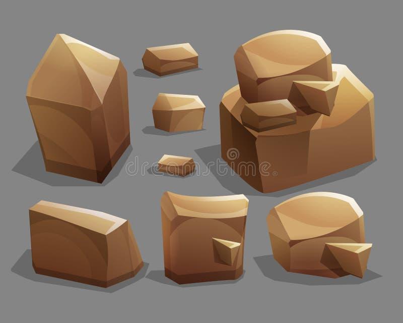 Vaggar och stenar Tecknad filmstenar och vaggar i isometrisk stil Uppsättning av olika stenblock royaltyfri illustrationer