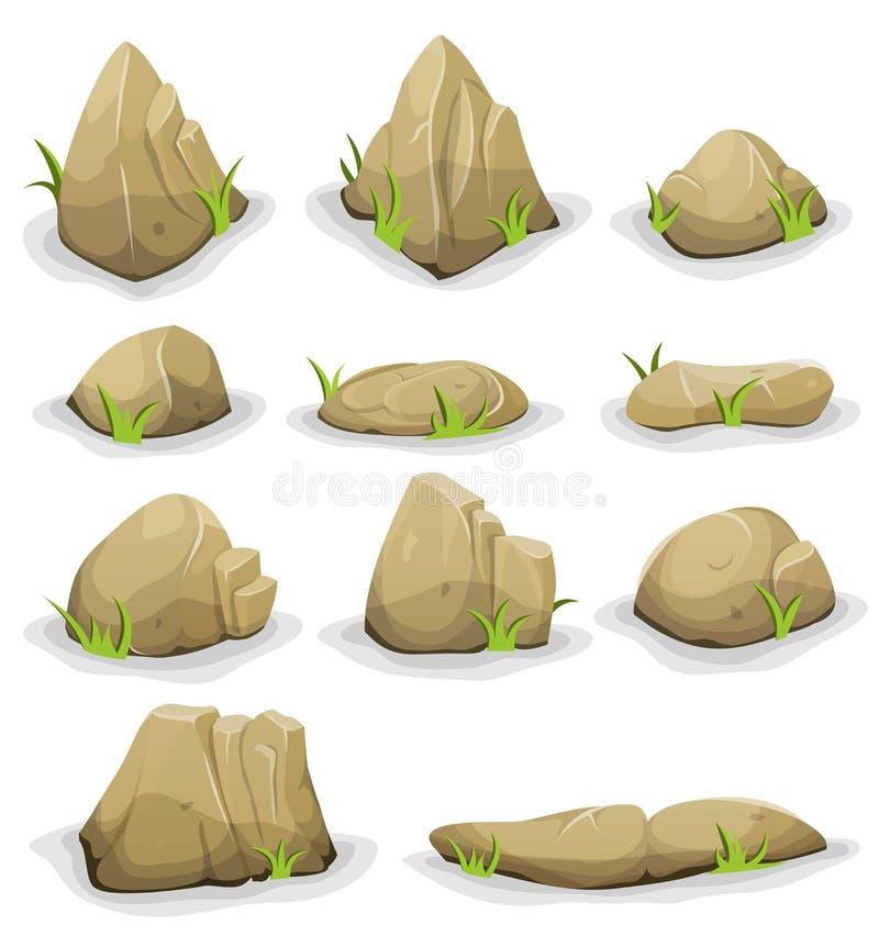 Vaggar och stenblock med grässidauppsättningen vektor illustrationer