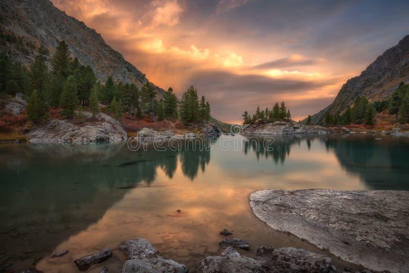 Vaggar och träd som reflekterar i rosa vatten av solnedgångberg sjön, den höglands- naturen Autumn Landscape för Altai berg arkivfoton