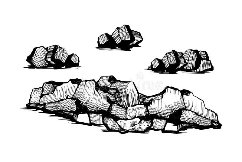 Vaggar stenar skissar uppsättningen royaltyfri illustrationer