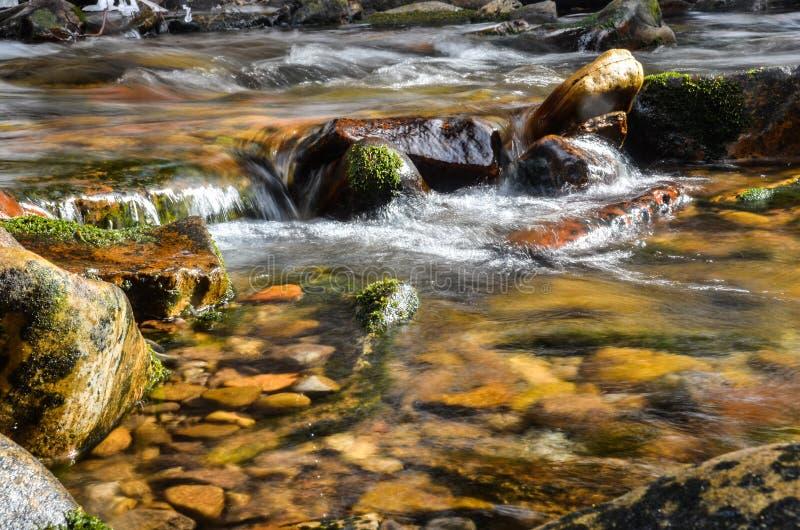 Vaggavattenfallet av en snabb flödande flod arkivbild