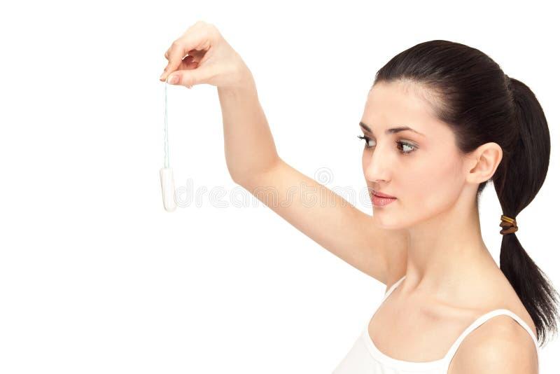 vaginal vit kvinna för bomullsholdingtampong royaltyfria foton