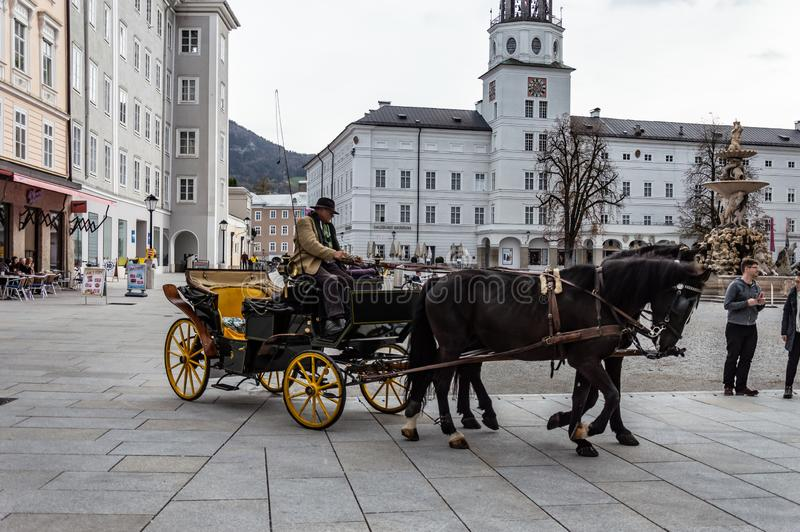 vagn drivande h?stsalzburg turister Lagledare kusk royaltyfri foto