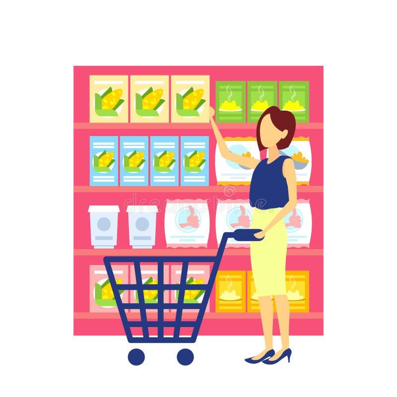 Vagn för spårvagn för kvinnakund som bärande väljer för speceriaffärsupermarket för mat den toppna marknaden för stor inre köpare royaltyfri illustrationer