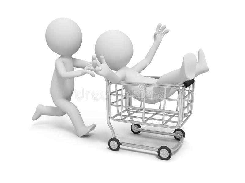 vagn frambragd shopping för bild 3d stock illustrationer