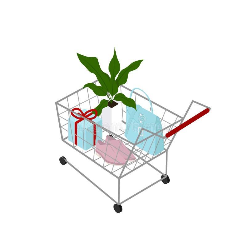 vagn isolerad shopping vektor illustrationer