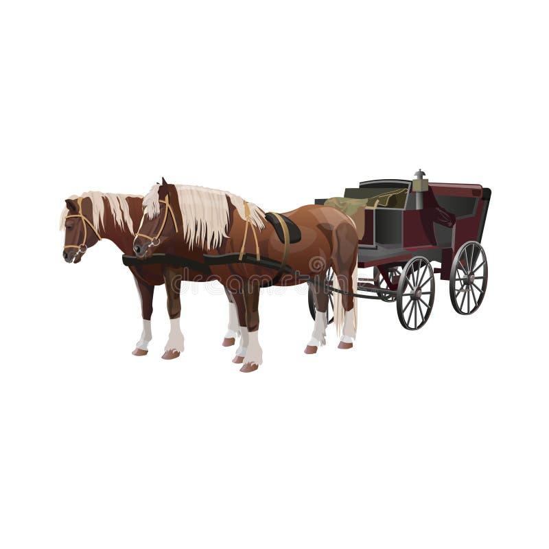 Vagn med hästar vektor illustrationer