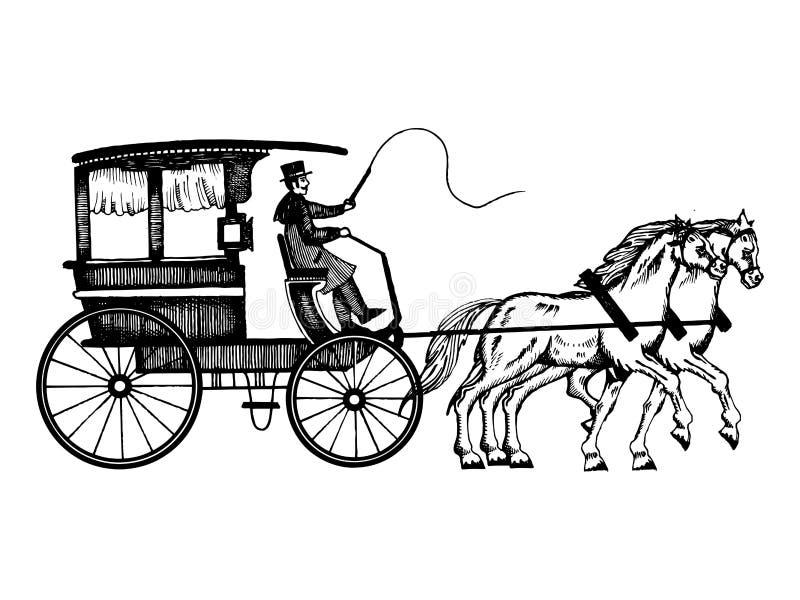 Vagn med hästar som inristar stilvektorn stock illustrationer