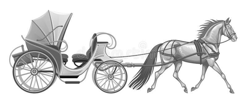 Vagn med hästen vektor illustrationer