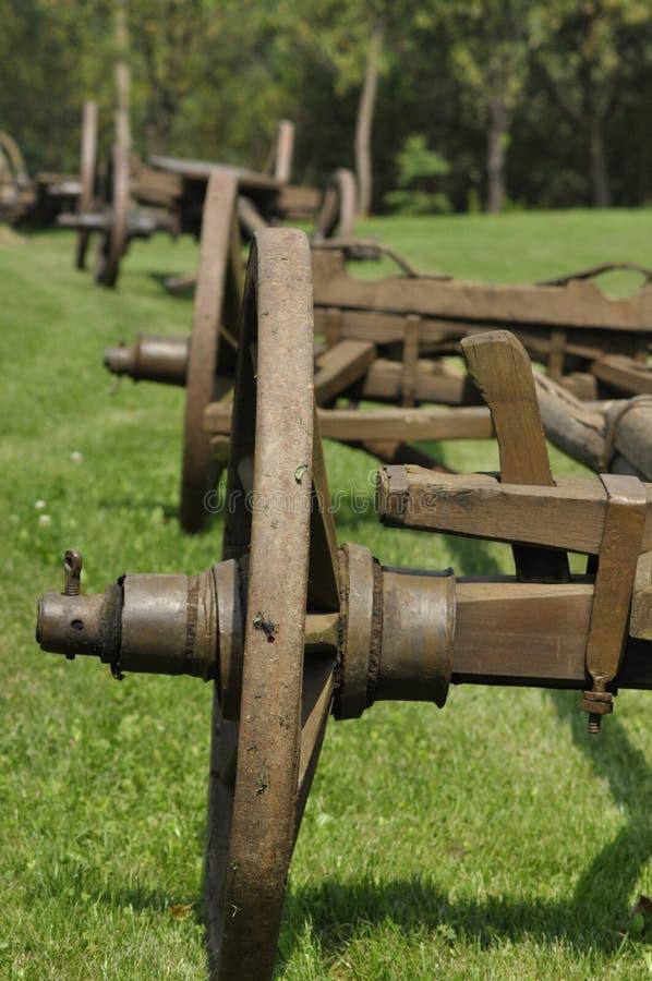 Vagn med trähjul Museum renoverad monument royaltyfri foto