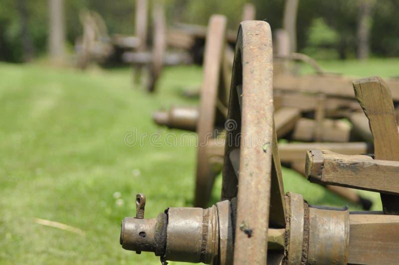 Vagn med trähjul Museum renoverad monument fotografering för bildbyråer