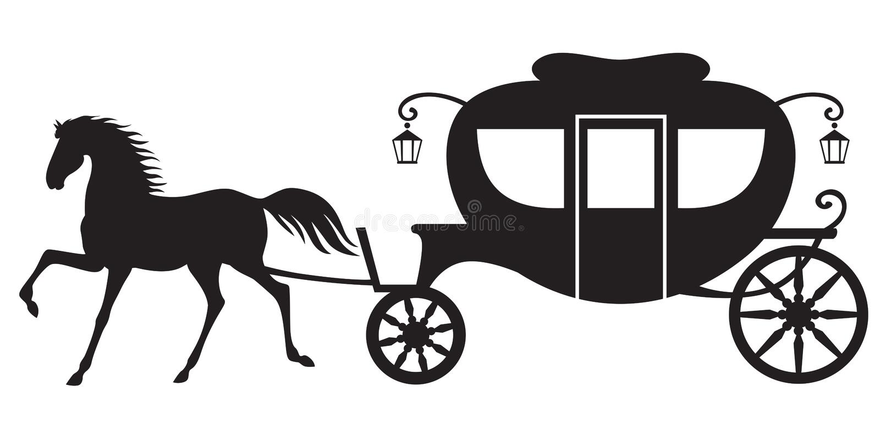 Vagn och häst stock illustrationer