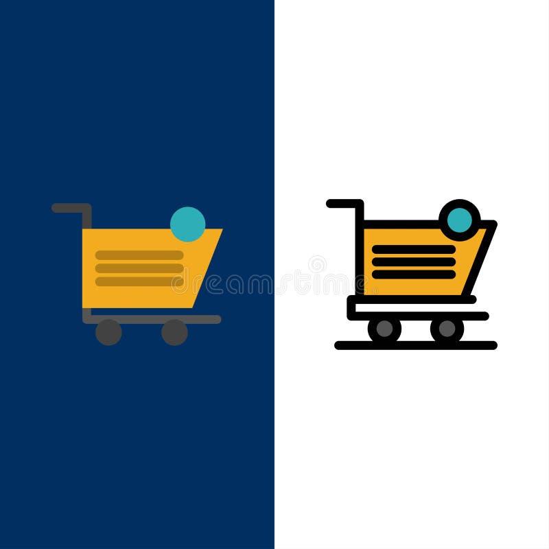Vagn shopping, sändnings, objekt, lagersymboler Lägenheten och linjen fylld symbol ställde in blå bakgrund för vektorn royaltyfri illustrationer