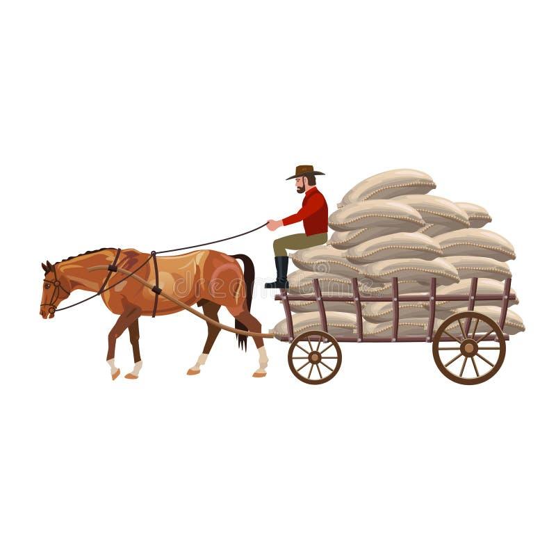 vagn tecknad häst stock illustrationer