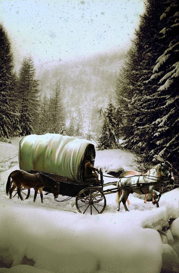 Vagn under snowen stock illustrationer