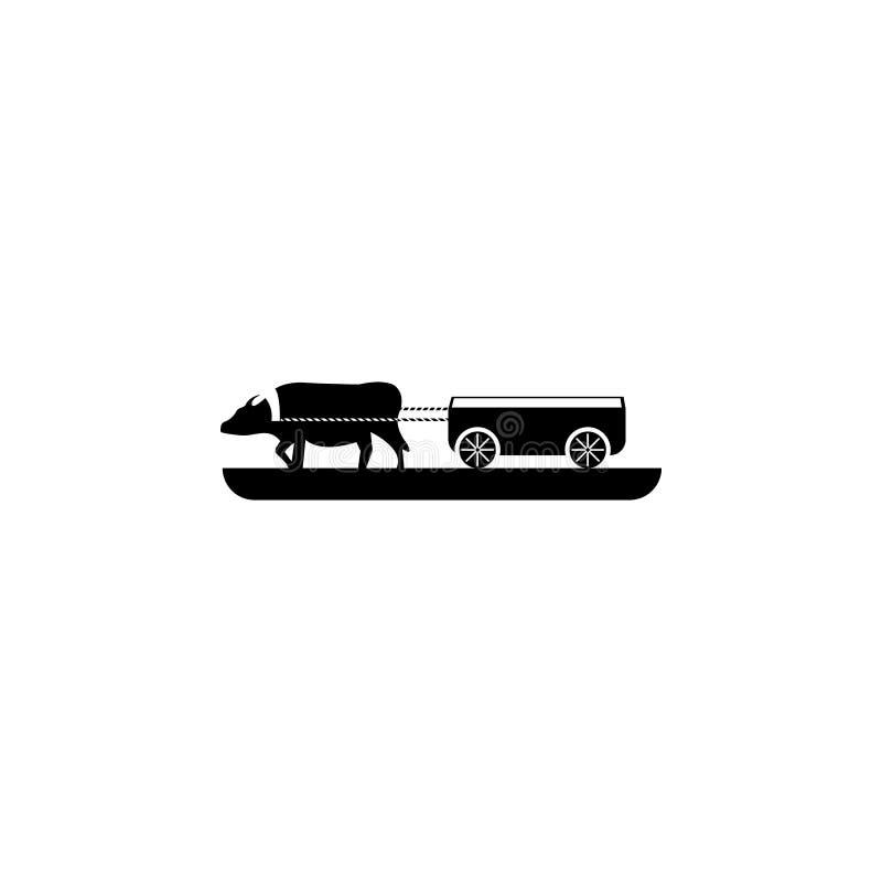 Vagnar med kosymbolen Beståndsdel av lantgården för mobila begrepps- och rengöringsdukapps Symbol för websitedesignen och utveckl royaltyfri illustrationer