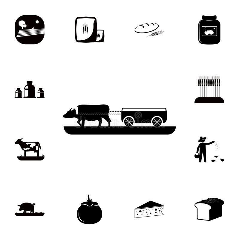 Vagnar med kosymbolen Detaljerad uppsättning av lantgårdsymboler Högvärdig kvalitets- symbol för grafisk design En av samlingssym royaltyfri illustrationer