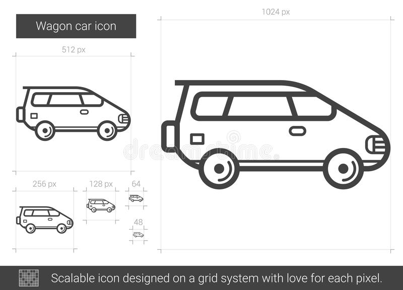Vagnbillinje symbol stock illustrationer