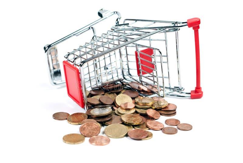 vagnen coins shopping v5 royaltyfri foto