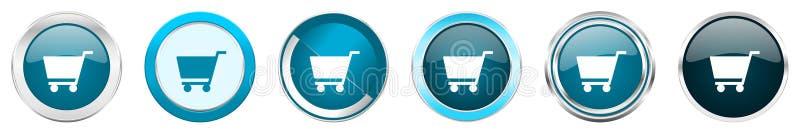 Vagnen försilvrar metalliska kromgränssymboler i 6 alternativ, ställde in av blåa runda knappar för rengöringsduken som isoleras  royaltyfri illustrationer