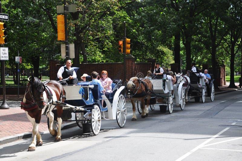 vagnen tecknade hästen philadelphia turnerar royaltyfri bild