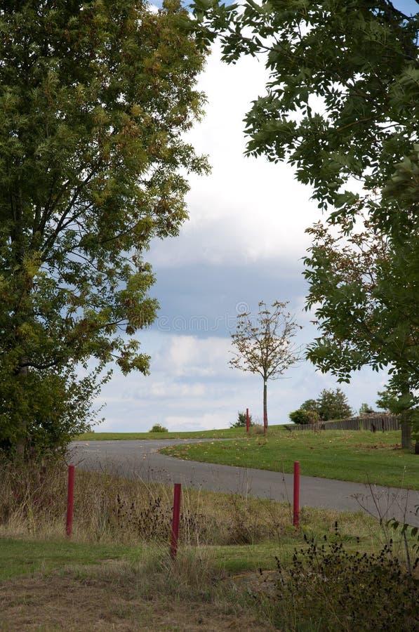Vagnsbana på en golfbana arkivfoto