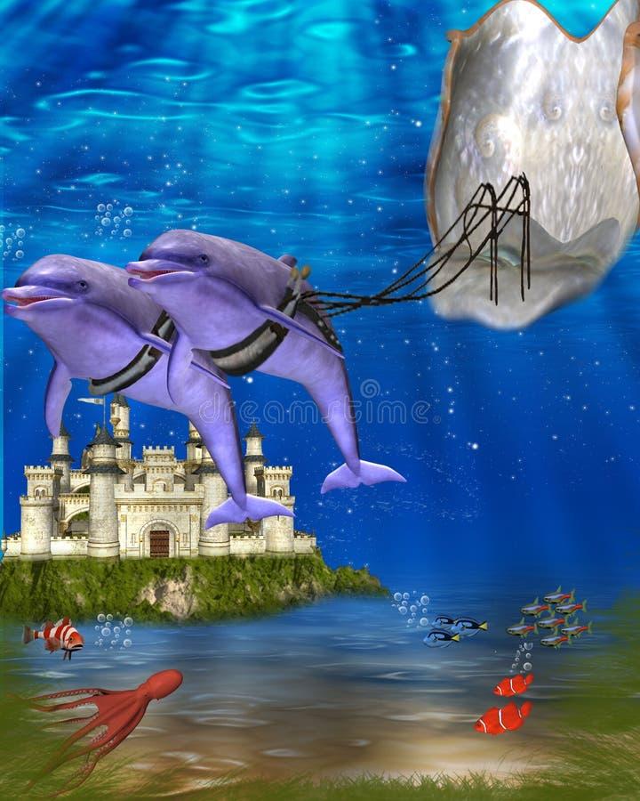 vagnsdelfin royaltyfri illustrationer