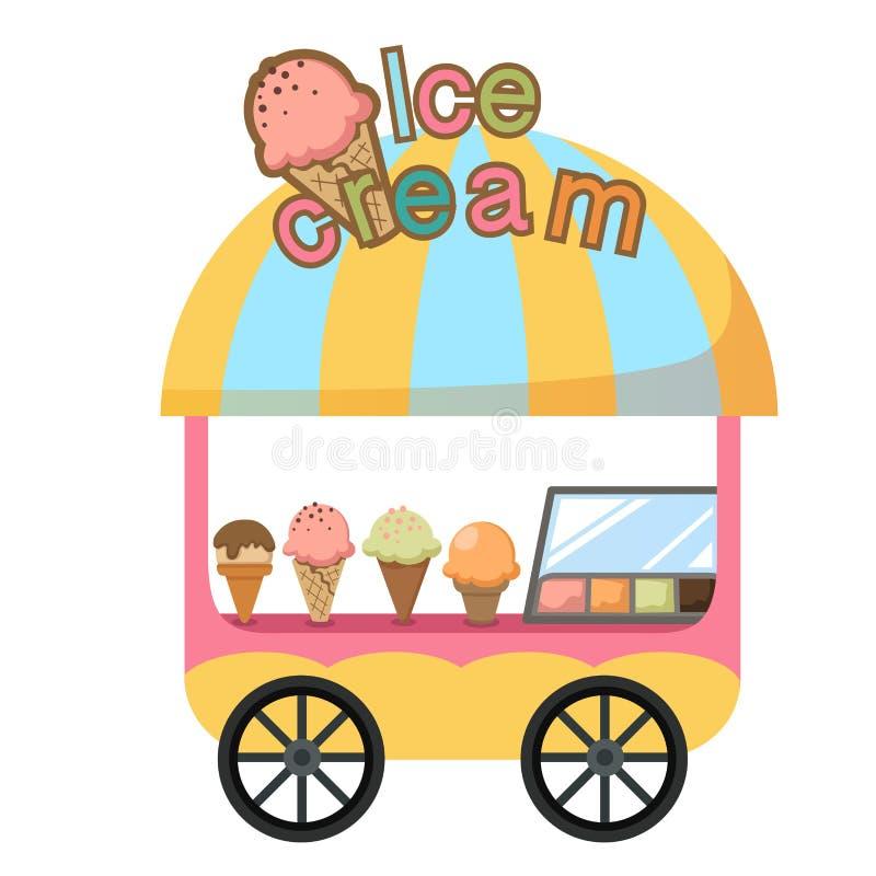 Vagnsstall och en glassvektor stock illustrationer