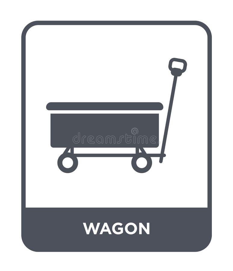 vagnsymbol i moderiktig designstil vagnsymbol som isoleras på vit bakgrund enkelt och modernt plant symbol för vagnvektorsymbol f royaltyfri illustrationer