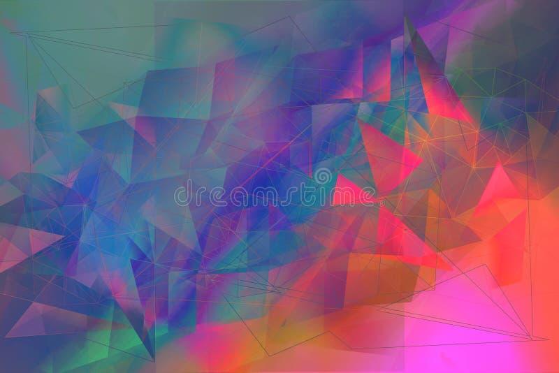 Vago, estratto, fondo multicolore e geometrico illustrazione vettoriale
