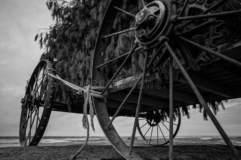 Vagone abbandonato in lago fotografie stock libere da diritti