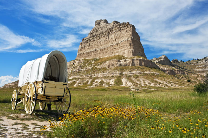 Vagone coperto, monumento nazionale di bluff di Scotts, Nebraska immagini stock libere da diritti