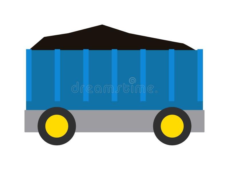 Vagone dell'illustrazione del treno del carbone illustrazione vettoriale