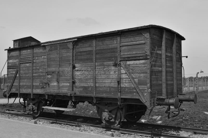 Vagone di deportazione a Auschwitz Birkenau fotografia stock libera da diritti